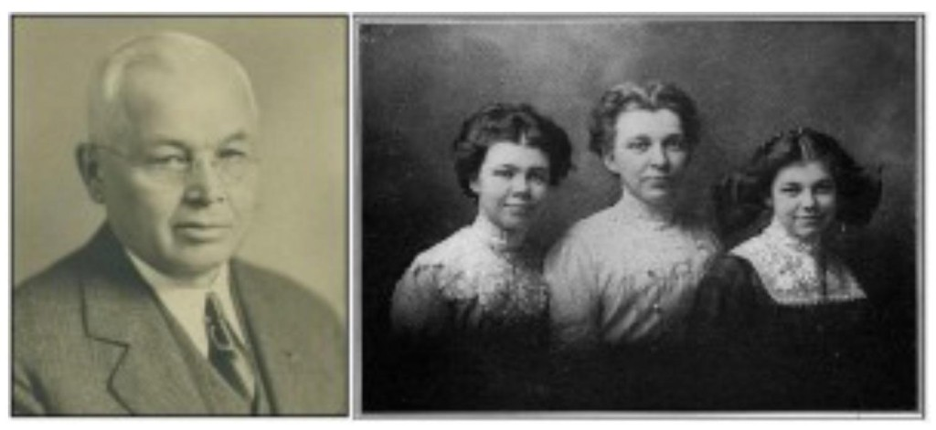 Morris McGawn. Mrs. Gertrude McGawn (center) with daughters Ethel (left) and Alice (right.)